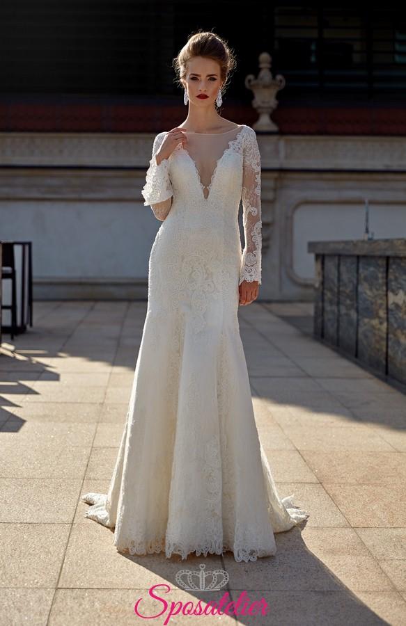 96883ea722d9 abito da sposa mezza sirena con scollo profondo trasparente online