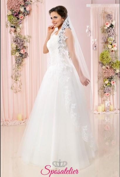 Velo da sposa lungo con orlo in pizzo ricamato vendita online