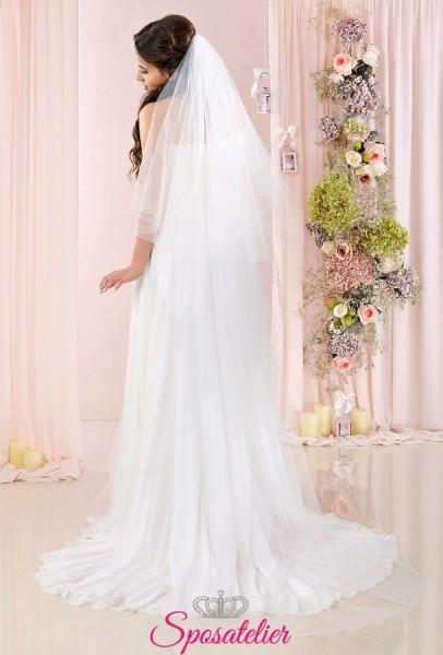 Velo sposa online semplice con bordo ondulato lungo