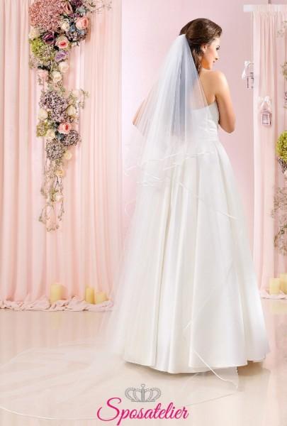 Velo da sposa lungo con bordo in raso sottile vendita online