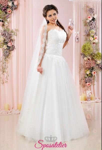 Veli sposa lunghi online con bordo ricamato in pizzo elegante