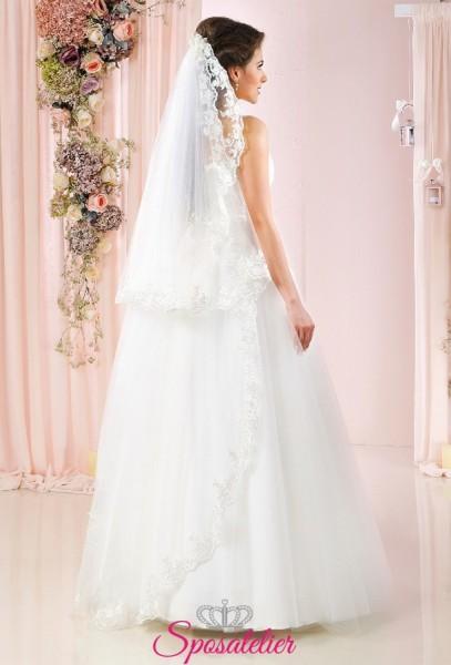 velo sposa on line con calata ricamato in pizzo vendita online
