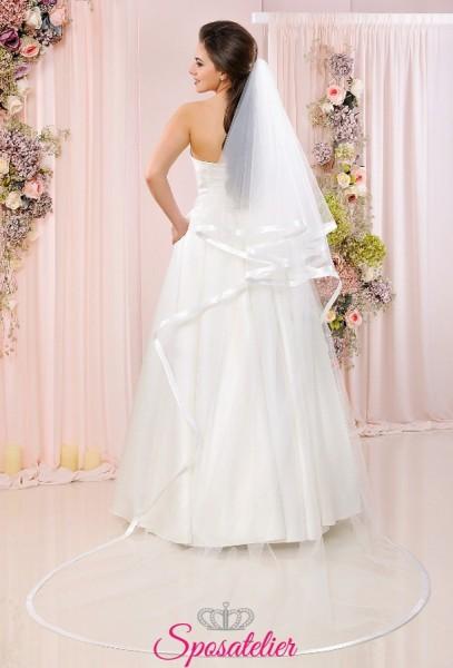 velo sposa online lungo con calata in tulle con bordo in raso