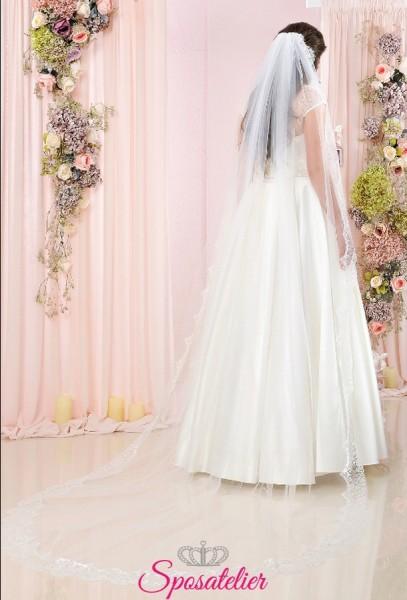 velo sposa on line lungo con bordo ondulato in tulle