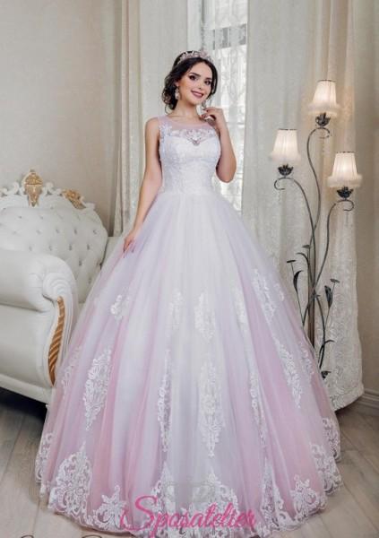 abiti da sposa colorati ricamato con pizzo a contrasto