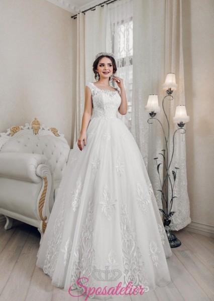 abiti da sposa economici online con ricami di pizzo elegante