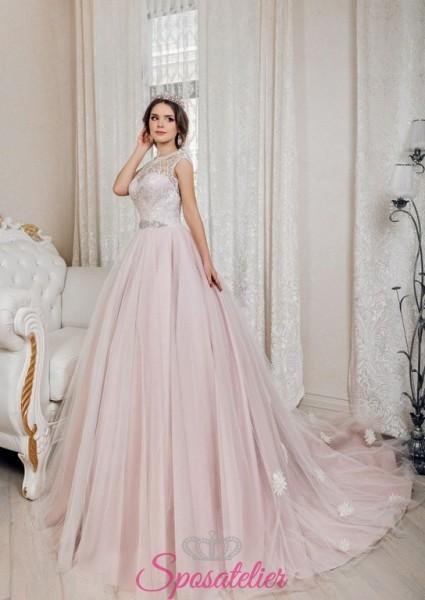 abiti da sposa rosa con decori in pizzo floreale economici online 2018