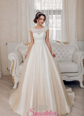 abiti da sposa favolosi con gonna colorata e decori in pizzo economici online 2018
