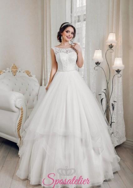 abiti da sposa economici online pomposi con gonna a balze