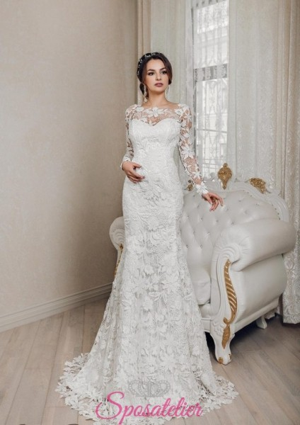 abiti da sposa economici online a sirena ricamato in pizzo con maniche