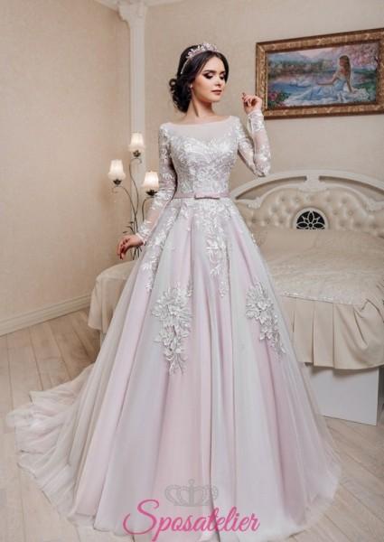 ERMENEGILDA – abiti da sposa principeschi con gonna colorata e inserti in pizzo