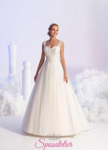 vestito da sposa economico online con spalline ricamato in pizzo