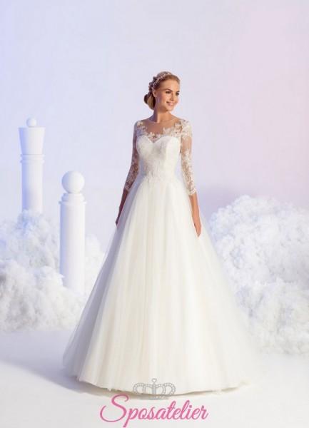 vestiti da sposa economici online gonna in tulle e maniche di pizzo