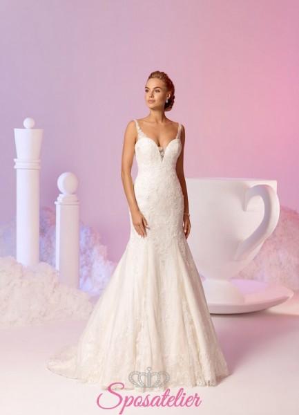 vestito da sposa a sirena meraviglioso con pizzo delicato e scollo a cuore