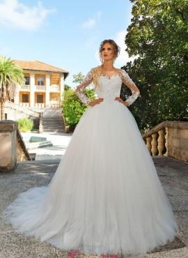 vestiti da sposa principessa con gonna ampia e maniche ricamate in pizzo 8979bb474eb