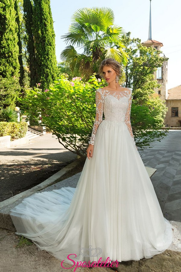 vestiti da sposa principessa con strascico lungo ricami in pizzo