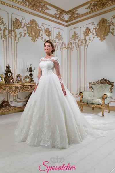 vestiti da sposa principessa con strasico lungo e ricami di pizzo collezione 2018