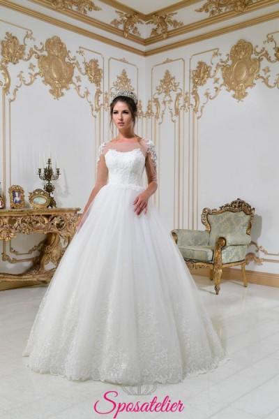 vestiti da sposa principessa con decori di pizzo sulle maniche collezione 2018
