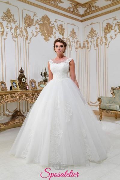 vestiti da sposa principessa  semplice con gonna ampia scollo tondo