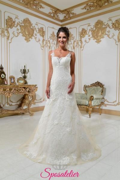 JOLANDA – abiti da sposa mezza sirena ricamato in pizzo nuova collezione