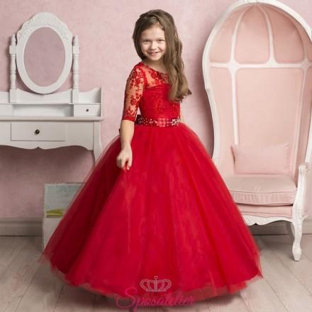 ROSSANA – abiti da cerimonia per bambina  on line rosso