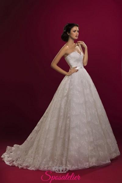vestiti da sposa ricamati in pizzo da principessa economici online