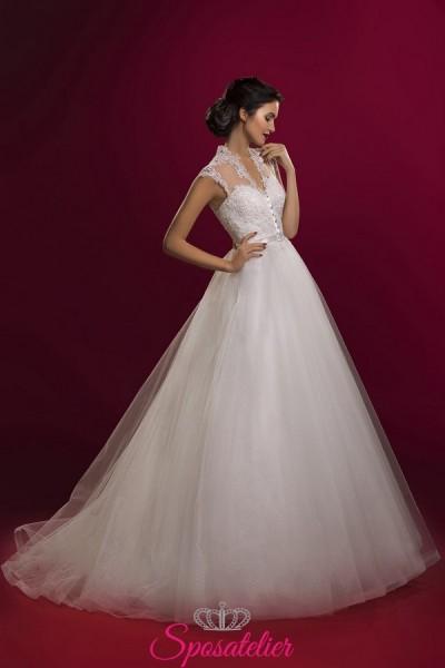 vestiti da sposa collo alla coreana con gonna ampia economici online