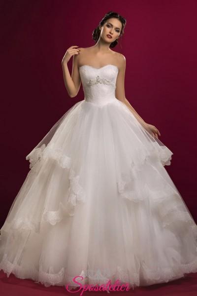 vestiti da sposa economici online con scollo a cuore e gonna ampia con balza