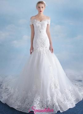 vestiti da sposa a sirena sensuale in pizzo con scollo a barchetta