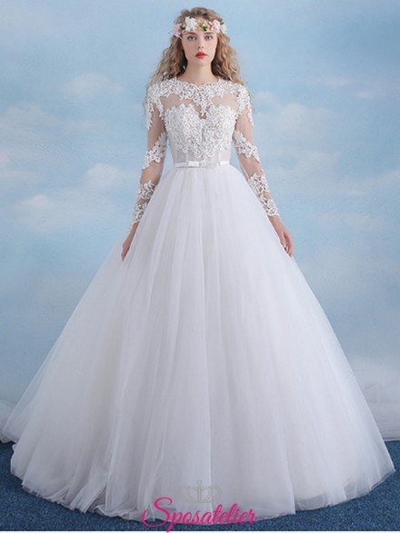 vestiti da sposa economici online a palloncino con maniche lunghe ricamate
