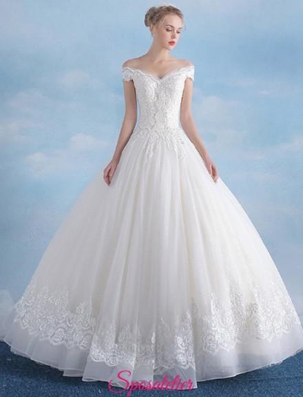 vestiti da sposa economici online con scollo a barchetta e gonna ampia