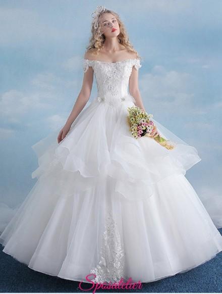 vestiti da sposa economici online a palloncino con gonna ampia in tulle