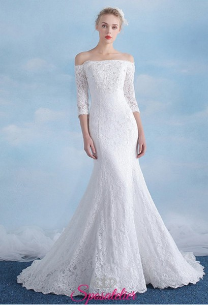 vestiti da sposa a sirena economici online con maniche tre quarti e scollo a barca