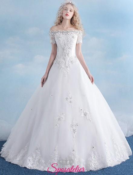 vestiti da sposa economici online con gonna a nuvola e scollo a barca