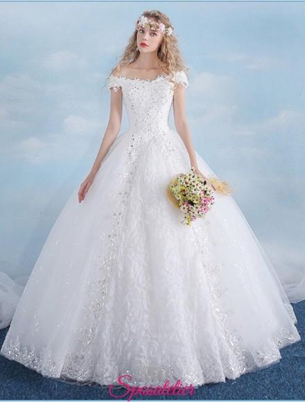 vestiti da sposa economici online con gonna a palloncino e scollo a barchetta