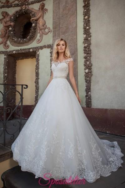 vestiti da sposa principessa economico online con cintura brillante e pizzo