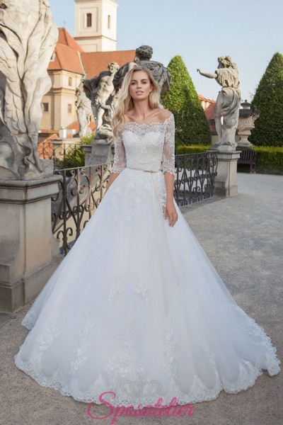 vestiti da sposa principessa con coprispalle a barchetta di pizzo online economico