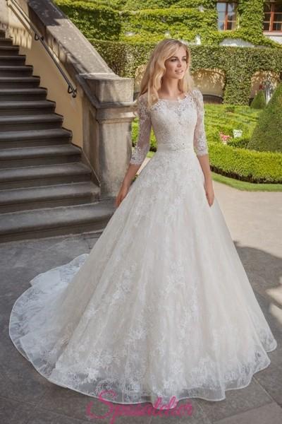 vestiti da sposa ricamato in pizzo da principessa economici online