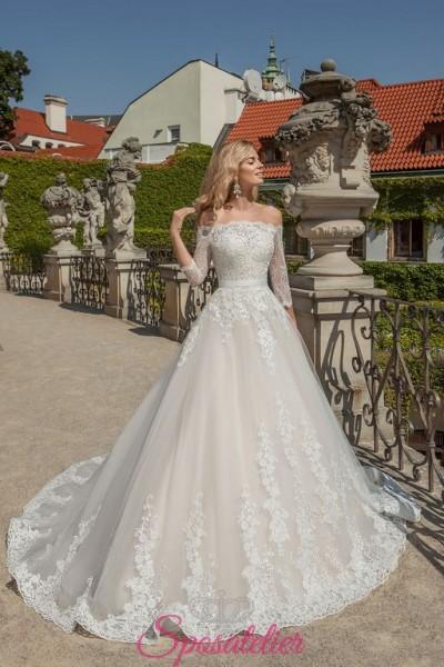 vestiti da sposa con scollo a barchetta ricamato in pizzo da principessa economici