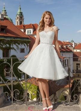 abiti da sposa corti in pizzo con gonna scampanata online economico 2018