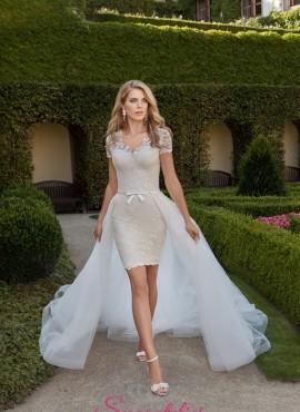 abiti da sposa corto colorato con coda staccabile 2018