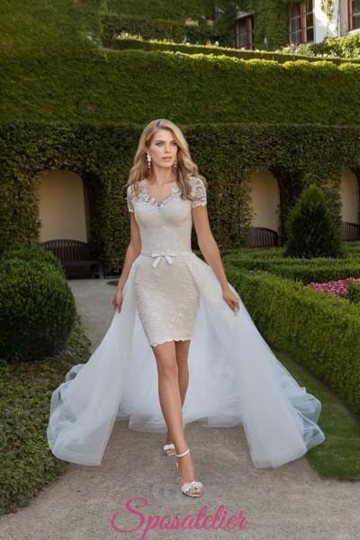 ELIDE – abiti da sposa corto colorato con coda staccabile