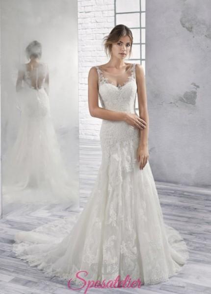 vestiti da sposa  mezza sirena in pizzo con bottoncini sulla schiena economici