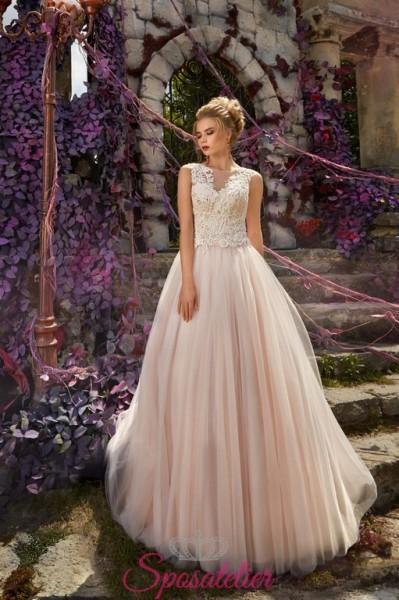 abiti da sposa colorati economici online 2018 con gonna rosa
