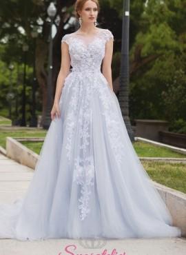 abiti da sposa azzurro con ricami di pizzo colorati economici online 2018