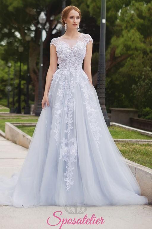 Vestiti Da Sposa Azzurri.Abiti Da Sposa Azzurro Con Ricami Di Pizzo Colorati Economici