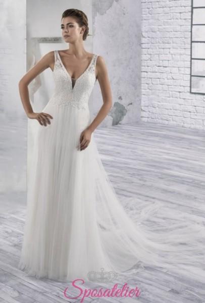 vestiti da sposa ricamato in pizzo A line con coda economici online