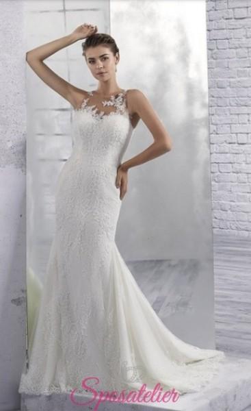 vestiti da sposa sirena con scollo semitrasparente sensuale in pizzo
