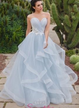 abiti da sposa colorati con balze molto particolare economici online 2018