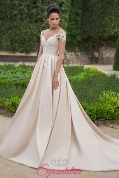 vestito da sposa principesco colorato con gonna colorata champagne e corpetto avorio